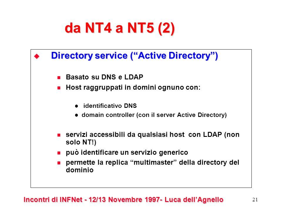 Incontri di INFNet - 12/13 Novembre 1997- Luca dellAgnello 21 da NT4 a NT5 (2) Directory service (Active Directory) Directory service (Active Directory) Basato su DNS e LDAP Host raggruppati in domini ognuno con: identificativo DNS domain controller (con il server Active Directory) servizi accessibili da qualsiasi host con LDAP (non solo NT!) può identificare un servizio generico permette la replica multimaster della directory del dominio