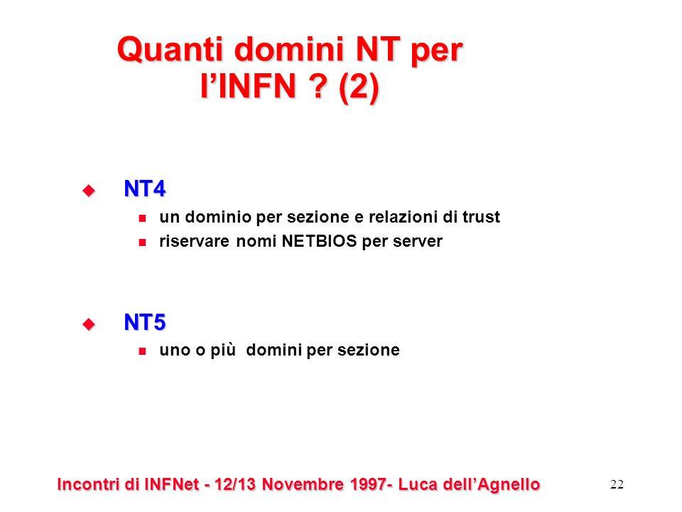 Incontri di INFNet - 12/13 Novembre 1997- Luca dellAgnello 22 Quanti domini NT per lINFN .