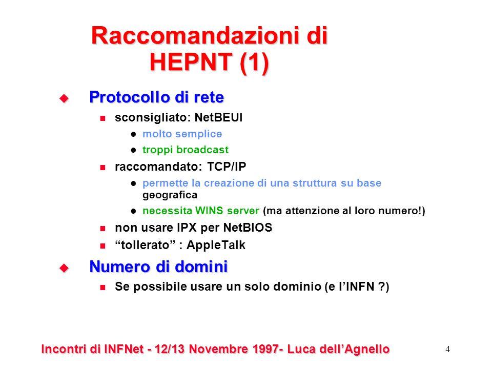 Incontri di INFNet - 12/13 Novembre 1997- Luca dellAgnello 4 Raccomandazioni di HEPNT (1) Protocollo di rete Protocollo di rete sconsigliato: NetBEUI molto semplice troppi broadcast raccomandato: TCP/IP permette la creazione di una struttura su base geografica necessita WINS server (ma attenzione al loro numero!) non usare IPX per NetBIOS tollerato : AppleTalk Numero di domini Numero di domini Se possibile usare un solo dominio (e lINFN )