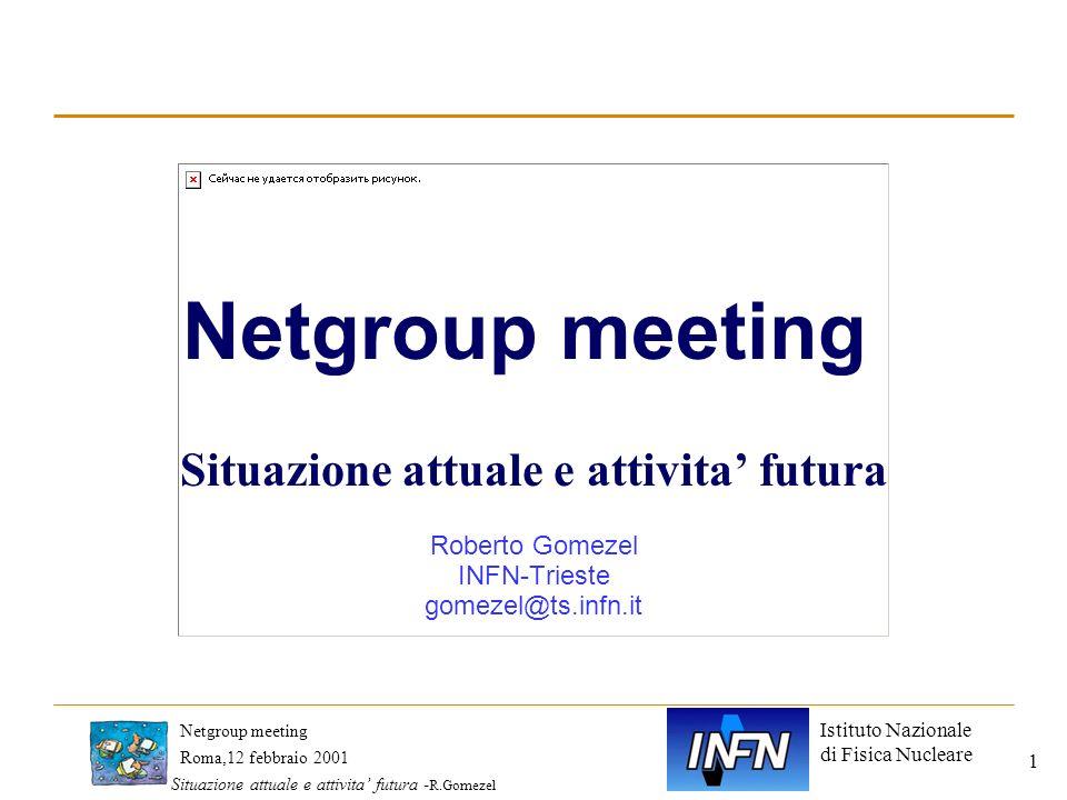 Istituto Nazionale di Fisica Nucleare Roma,12 febbraio 2001 Netgroup meeting Situazione attuale e attivita futura - R.Gomezel 1 Netgroup meeting Situa