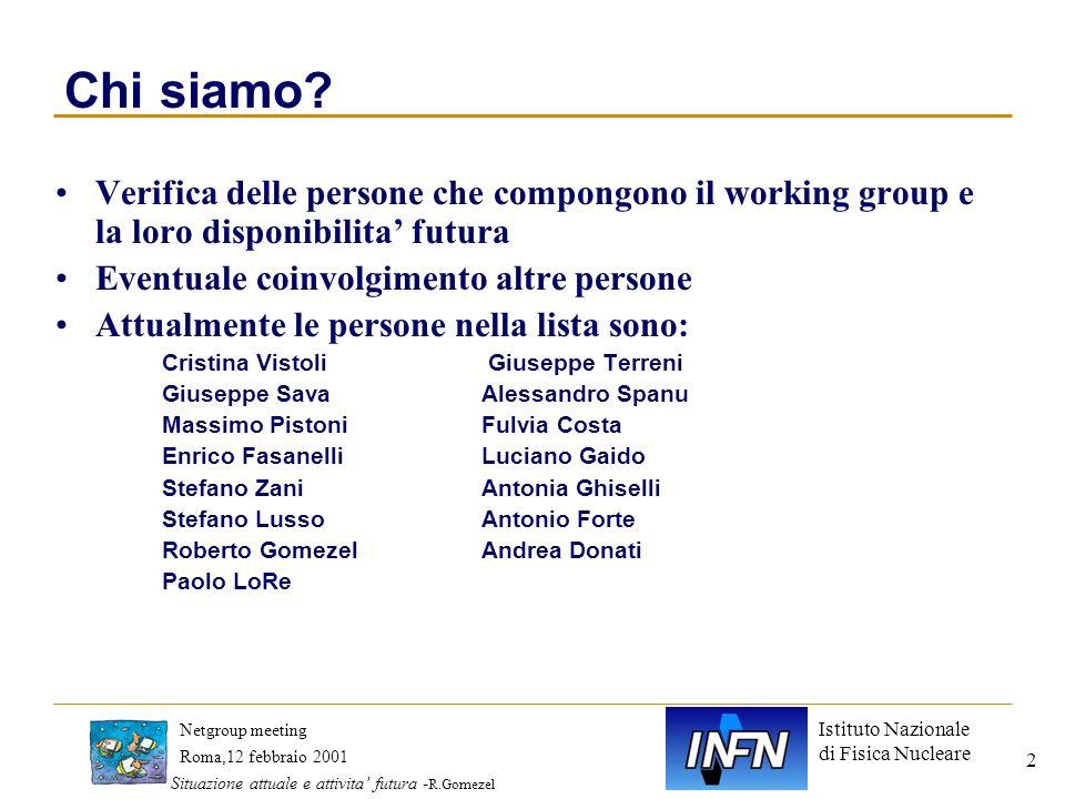 Istituto Nazionale di Fisica Nucleare Roma,12 febbraio 2001 Netgroup meeting Situazione attuale e attivita futura - R.Gomezel 2 Chi siamo? Verifica de