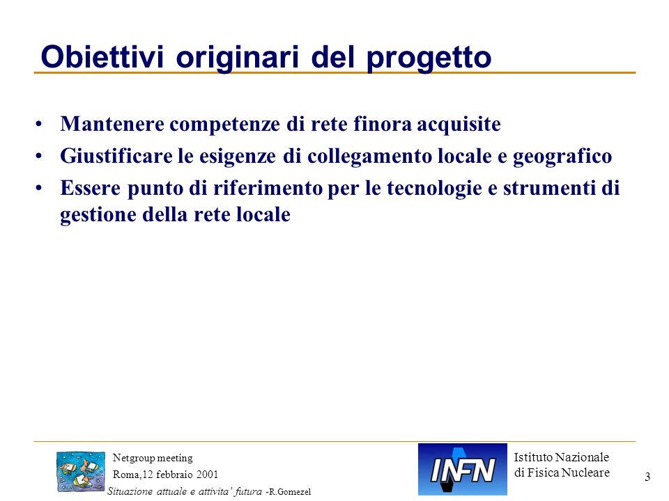 Istituto Nazionale di Fisica Nucleare Roma,12 febbraio 2001 Netgroup meeting Situazione attuale e attivita futura - R.Gomezel 4 Piano attivitaoriginario Accessi alla rete geografica DNS e indirizzi di rete Security degli apparati di rete LAN e loro gestione Sistema informativo comune