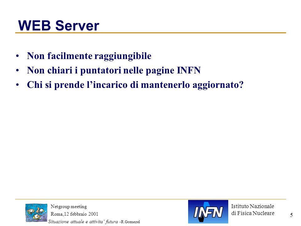 Istituto Nazionale di Fisica Nucleare Roma,12 febbraio 2001 Netgroup meeting Situazione attuale e attivita futura - R.Gomezel 5 WEB Server Non facilme