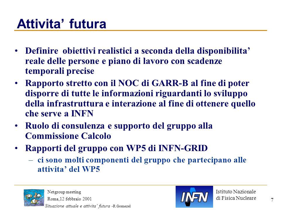 Istituto Nazionale di Fisica Nucleare Roma,12 febbraio 2001 Netgroup meeting Situazione attuale e attivita futura - R.Gomezel 7 Attivita futura Defini