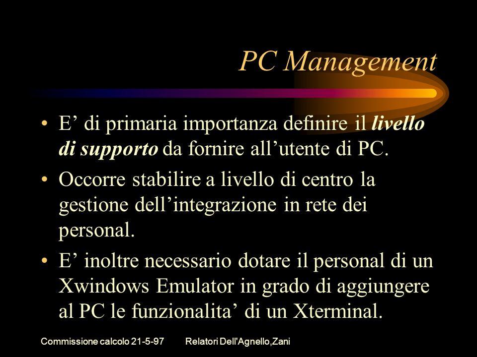 Commissione calcolo 21-5-97Relatori Dell Agnello,Zani PC Management E di primaria importanza definire il livello di supporto da fornire allutente di PC.