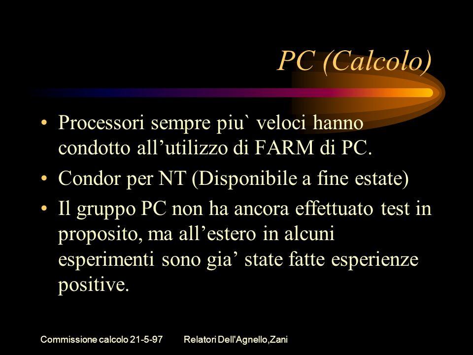 Commissione calcolo 21-5-97Relatori Dell'Agnello,Zani PC (Calcolo) Processori sempre piu` veloci hanno condotto allutilizzo di FARM di PC. Condor per
