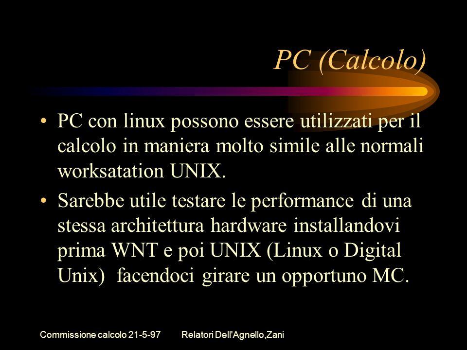 Commissione calcolo 21-5-97Relatori Dell Agnello,Zani PC (Calcolo) PC con linux possono essere utilizzati per il calcolo in maniera molto simile alle normali worksatation UNIX.