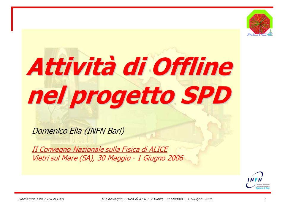 Domenico Elia / INFN BariII Convegno Fisica di ALICE / Vietri, 30 Maggio - 1 Giugno 20061 Attività di Offline nel progetto SPD Domenico Elia (INFN Bar