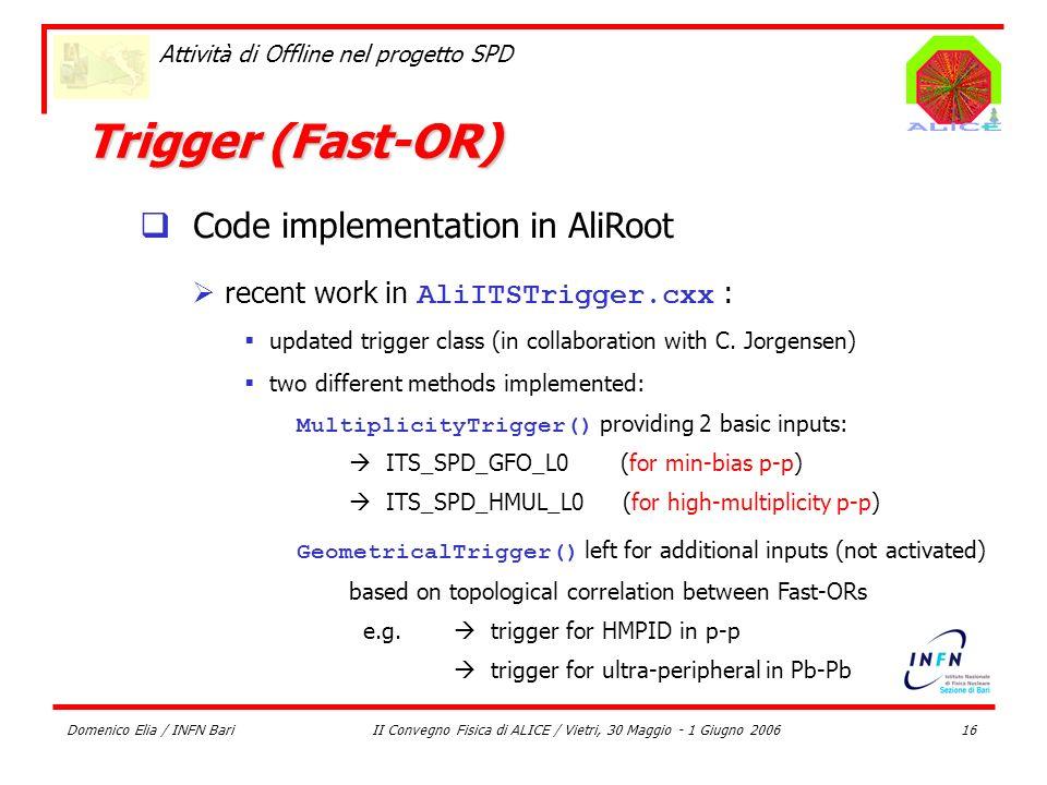Domenico Elia / INFN BariII Convegno Fisica di ALICE / Vietri, 30 Maggio - 1 Giugno 200616 Attività di Offline nel progetto SPD Trigger (Fast-OR) Code