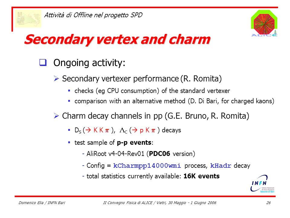 Domenico Elia / INFN BariII Convegno Fisica di ALICE / Vietri, 30 Maggio - 1 Giugno 200626 Attività di Offline nel progetto SPD Secondary vertex and c