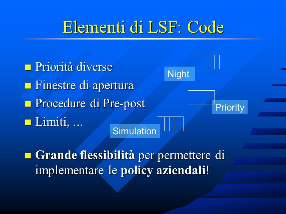 Elementi di LSF: Code n Priorità diverse n Finestre di apertura n Procedure di Pre-post n Limiti,...