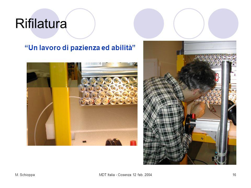 M. SchioppaMDT Italia - Cosenza 12 feb. 200416 Rifilatura Un lavoro di pazienza ed abilità