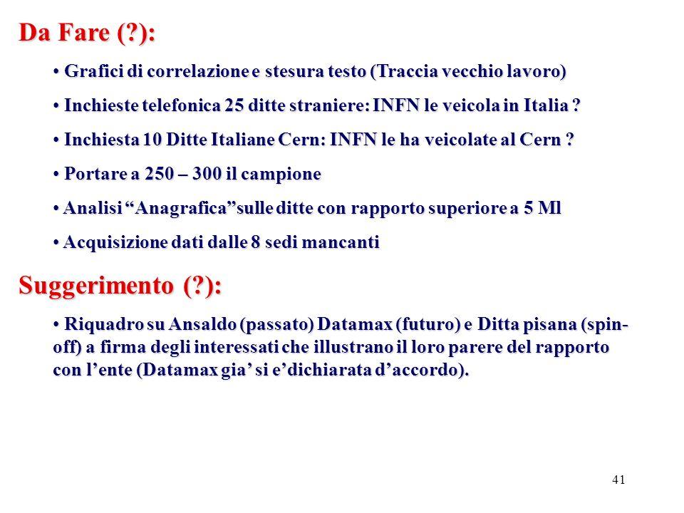 41 Da Fare (?): Grafici di correlazione e stesura testo (Traccia vecchio lavoro) Grafici di correlazione e stesura testo (Traccia vecchio lavoro) Inchieste telefonica 25 ditte straniere: INFN le veicola in Italia .