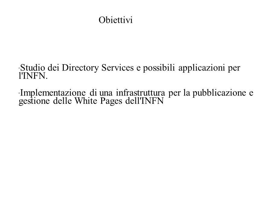 Obiettivi Studio dei Directory Services e possibili applicazioni per l INFN.