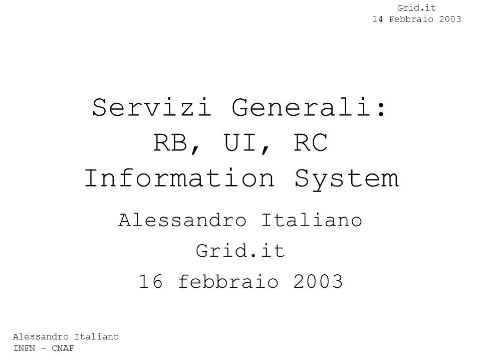 Alessandro Italiano INFN - CNAF Grid.it 14 Febbraio 2003 UserInterface Interfaccia verso grid Una per ogni testbed installato in sezione Account su richiesta Nessun requisito HW particolare Software: Globus Toolkit 2.0 e 2.1 WP1 SW 1.4.3