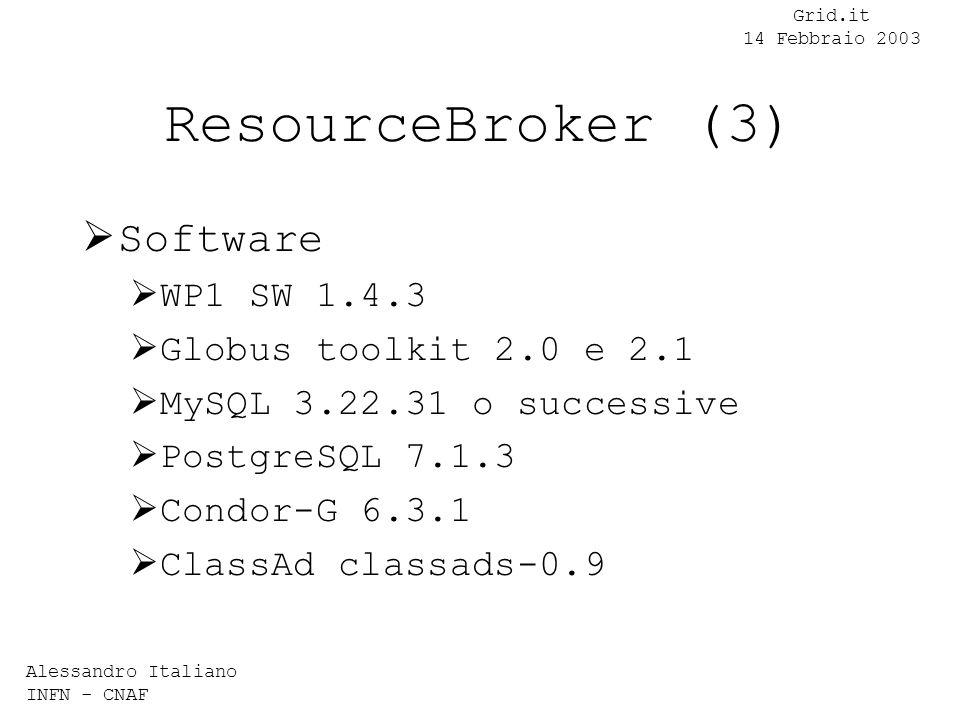 Alessandro Italiano INFN - CNAF Grid.it 14 Febbraio 2003 ResourceBroker (3) Software WP1 SW 1.4.3 Globus toolkit 2.0 e 2.1 MySQL 3.22.31 o successive PostgreSQL 7.1.3 Condor-G 6.3.1 ClassAd classads-0.9