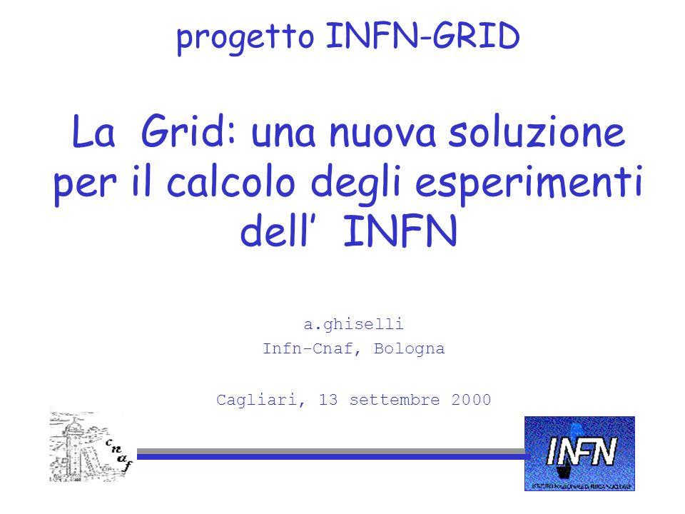progetto INFN-GRID La Grid: una nuova soluzione per il calcolo degli esperimenti dell INFN a.ghiselli Infn-Cnaf, Bologna Cagliari, 13 settembre 2000
