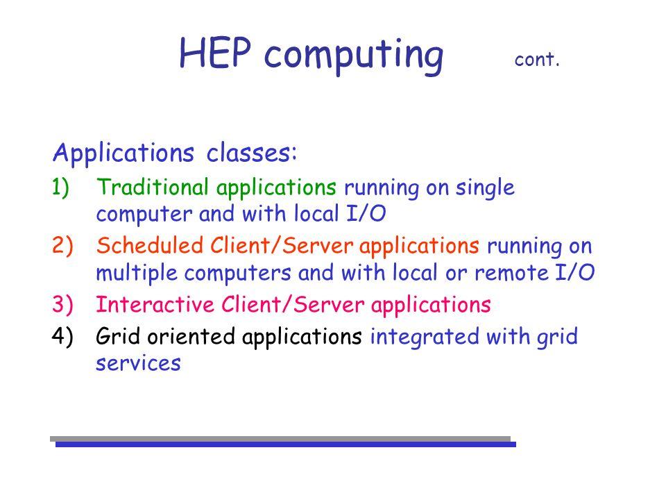 HEP computing cont.