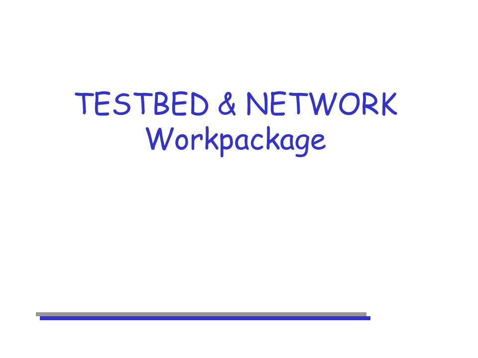TESTBED & NETWORK Workpackage