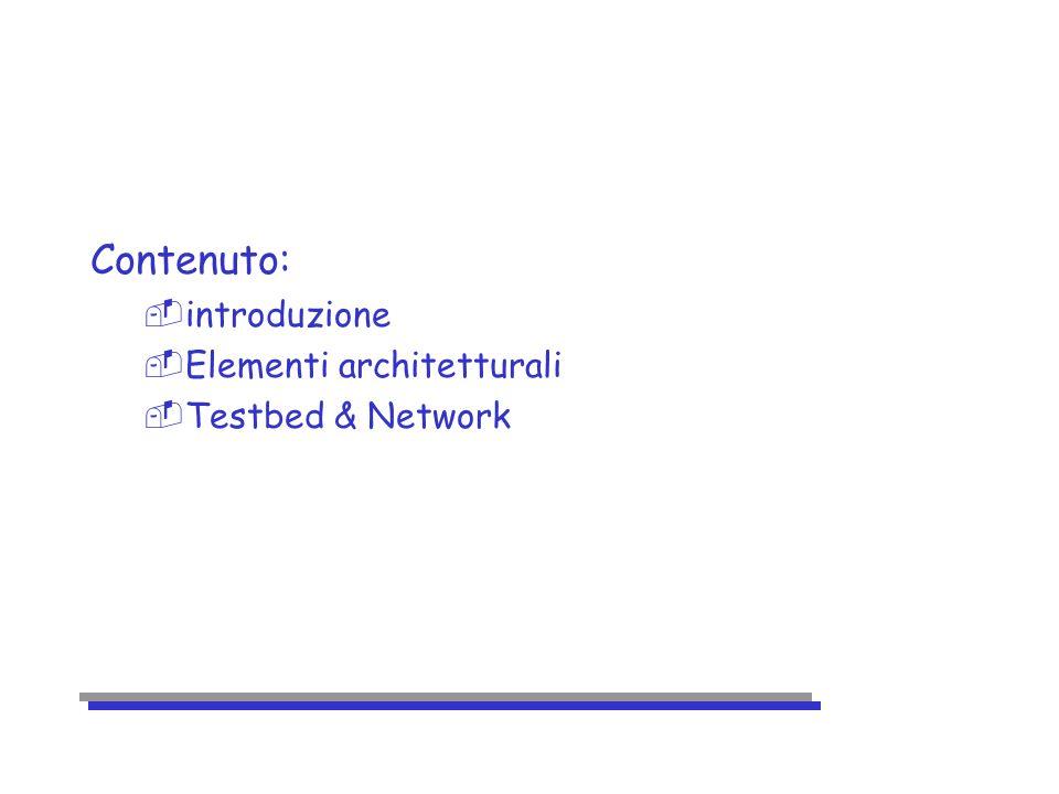 Contenuto: -introduzione -Elementi architetturali -Testbed & Network