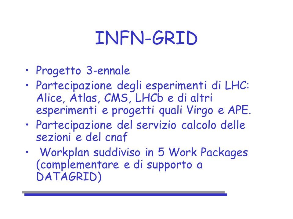 workplan WP1, evaluation of Globus toolkit, M.Sgaravatto, F.Prelz WP2, integration with DATAGRID and adaptation to the national grid project: –WP2.1 workload management, C.Vistoli, M.Sgaravatto –WP2.2, data management, L.Barone, L.Silvestris –WP2.3, application monitoring, U.Marconi, D.