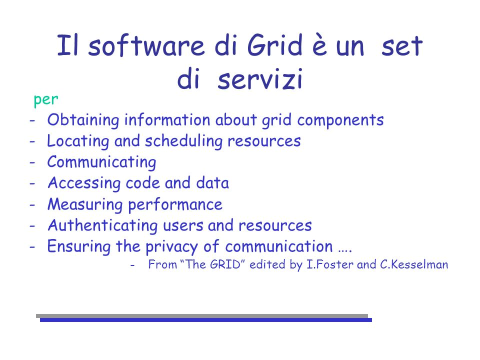 Deliverables Deliverable Description Delivery Date D1.1 Widely deployed testbed of GRID basic services 6 months D1.2 Application 1 (traditional applications) testbed 12 months D1.3 Application 2 (scheduled client/server applications) testbed 18 months Application n (cahotic client/server applications) testbed 30 months D1.4 Grid fabric for distributed Tier 124 months D1.5 Grid fabric for all Tier hierarchy36 months
