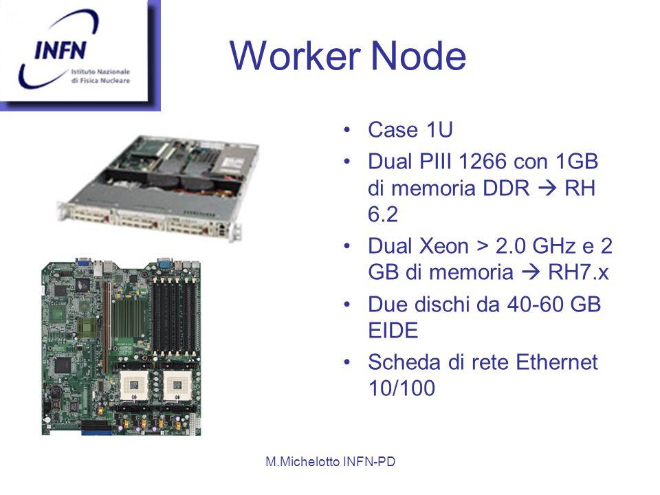 M.Michelotto INFN-PD Worker Node Case 1U Dual PIII 1266 con 1GB di memoria DDR RH 6.2 Dual Xeon > 2.0 GHz e 2 GB di memoria RH7.x Due dischi da 40-60 GB EIDE Scheda di rete Ethernet 10/100