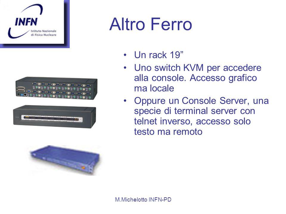 M.Michelotto INFN-PD Altro Ferro Un rack 19 Uno switch KVM per accedere alla console.