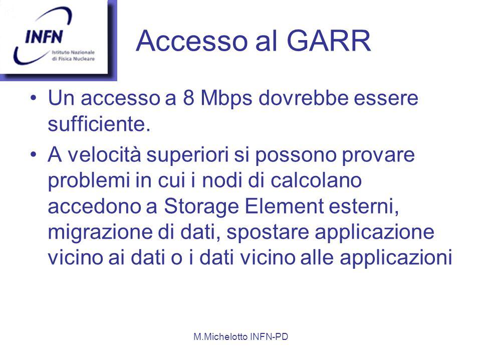 M.Michelotto INFN-PD Accesso al GARR Un accesso a 8 Mbps dovrebbe essere sufficiente.