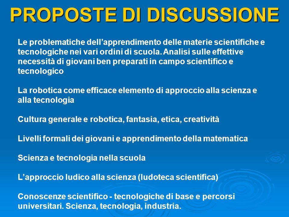 PROPOSTE DI DISCUSSIONE Le problematiche dellapprendimento delle materie scientifiche e tecnologiche nei vari ordini di scuola. Analisi sulle effettiv