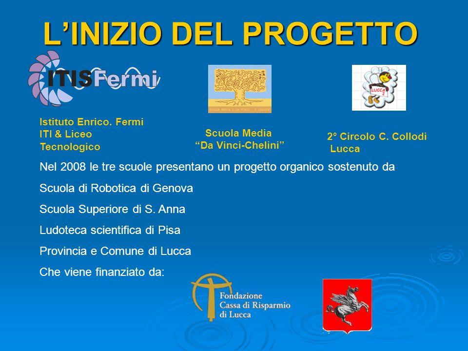LINIZIO DEL PROGETTO Istituto Enrico. Fermi ITI & Liceo Tecnologico 2° Circolo C. Collodi Lucca Scuola Media Da Vinci-Chelini Nel 2008 le tre scuole p