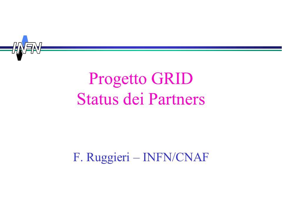Progetto GRID Status dei Partners F. Ruggieri – INFN/CNAF