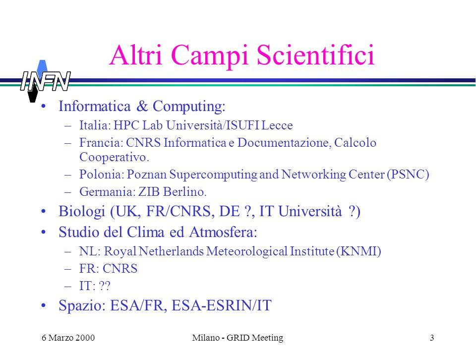 6 Marzo 2000Milano - GRID Meeting3 Altri Campi Scientifici Informatica & Computing: –Italia: HPC Lab Università/ISUFI Lecce –Francia: CNRS Informatica e Documentazione, Calcolo Cooperativo.