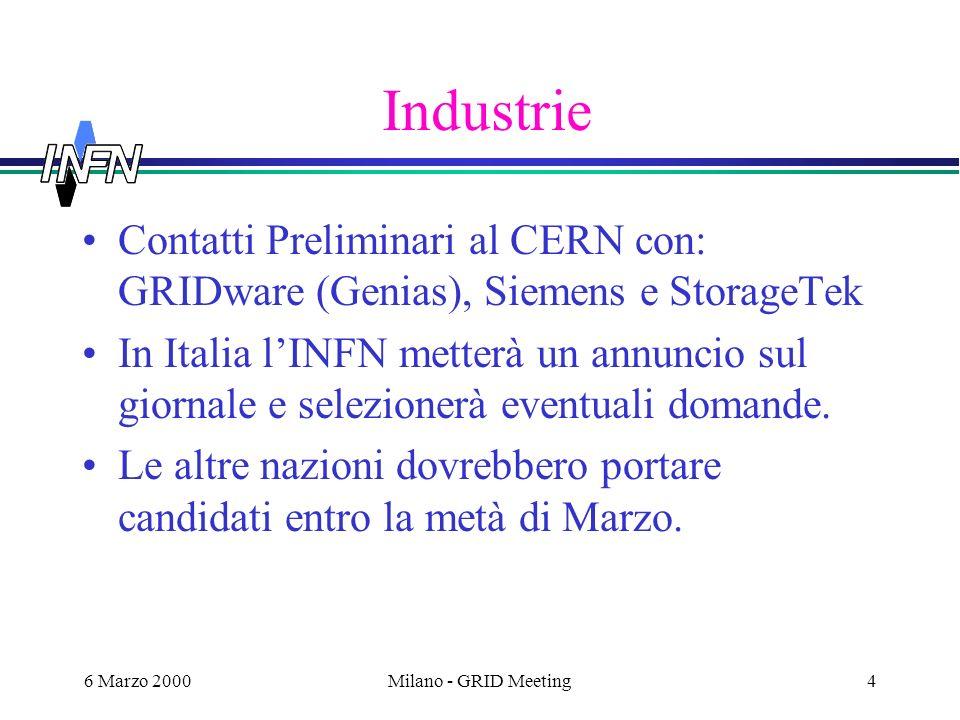 6 Marzo 2000Milano - GRID Meeting4 Industrie Contatti Preliminari al CERN con: GRIDware (Genias), Siemens e StorageTek In Italia lINFN metterà un annuncio sul giornale e selezionerà eventuali domande.