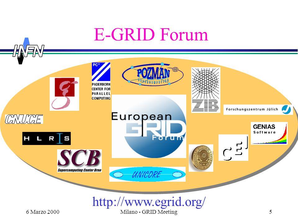 6 Marzo 2000Milano - GRID Meeting6 Altri Possibili Partners USA: Progetto coordinato con NSF e Università.