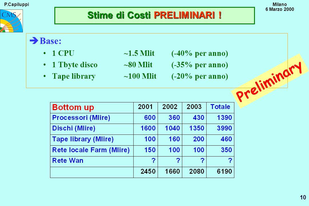 P.CapiluppiMilano 6 Marzo 2000 10 Preliminary Stime di Costi PRELIMINARI ! èBase: 1 CPU ~1.5 Mlit (-40% per anno) 1 Tbyte disco~80 Mlit(-35% per anno)
