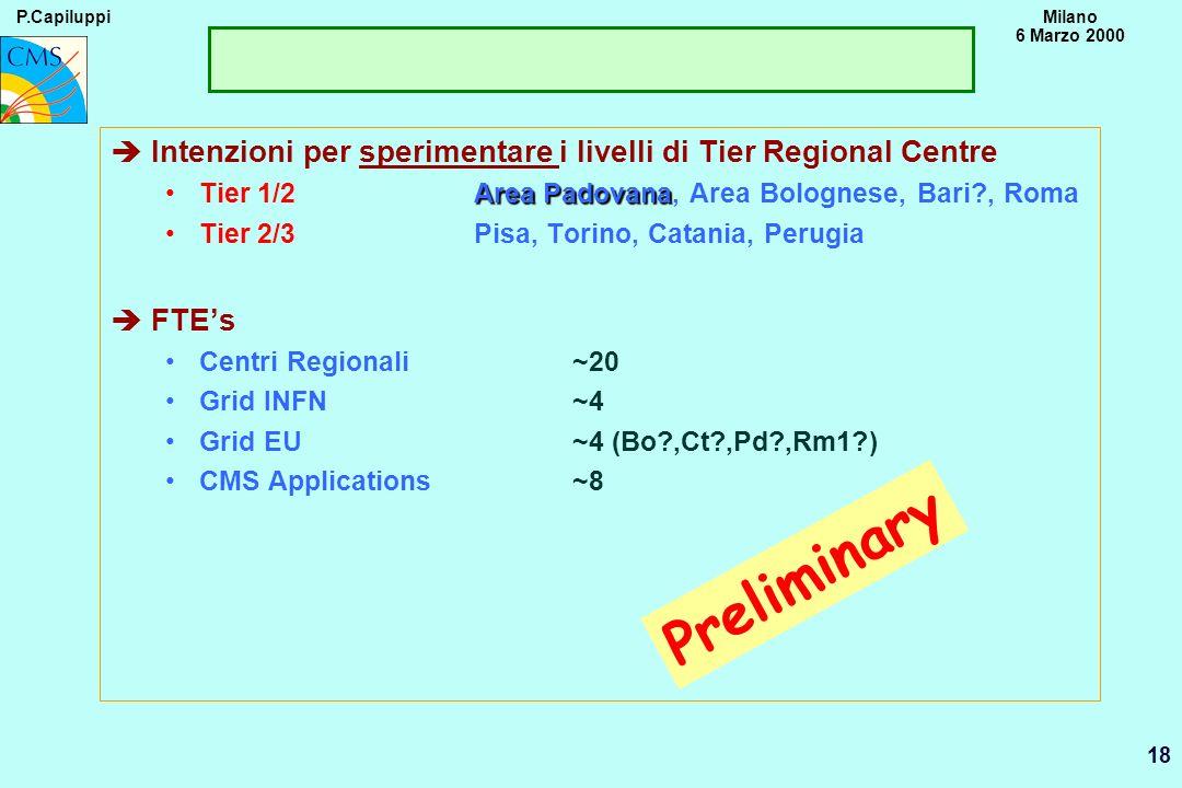 P.CapiluppiMilano 6 Marzo 2000 18 Preliminary èIntenzioni per sperimentare i livelli di Tier Regional Centre Area PadovanaTier 1/2Area Padovana, Area