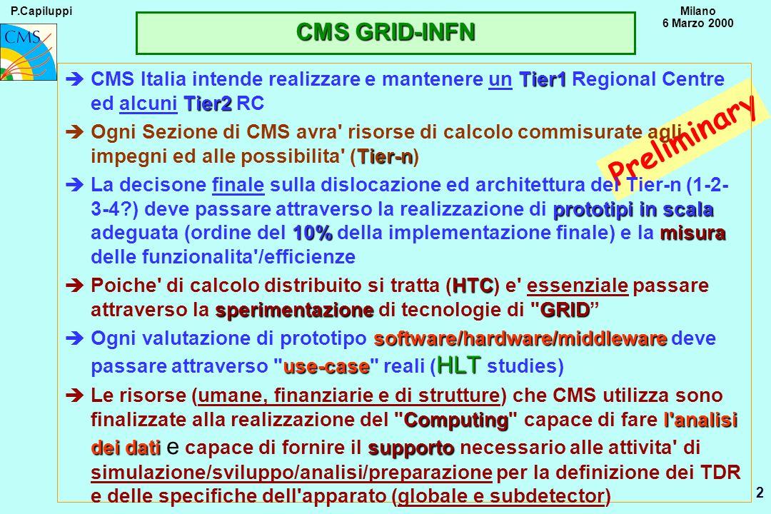 P.CapiluppiMilano 6 Marzo 2000 2 Preliminary Tier1 Tier2 èCMS Italia intende realizzare e mantenere un Tier1 Regional Centre ed alcuni Tier2 RC Tier-n