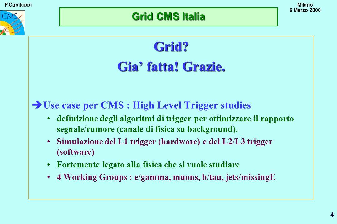 P.CapiluppiMilano 6 Marzo 2000 15 Preliminary Disponibilita nelle Sezioni (1) èBARI : Interesse per attivita di GRID e RC (*) CMS GRID-INFN~1 FTE (databases) Sezione GRID-INFN/EU~2 FTE(1FTE 2001-->) Esterni (Poli+Univ) GRID-INFN/EU~1 FTE CMS Applications~0.5 FTE èBOLOGNA: Interesse per attivita di GRID e RC (*) CMS GRID-INFN~2 FTE(1FTE 2001-->) Sezione GRID-INFN/EU~2 FTE(1FTE 2001-->)(middleware) CMS Applications~1 FTE Esterni (CINECA+CS)possibilita di >~ 1FTE èCATANIA: Interesse per attivita di GRID e RC (* in progress) CMS GRID-INFN~0.5 FTE Sezione GRID-INFN~1 FTE Esterni (ING) GRIG-EU~1 FTE