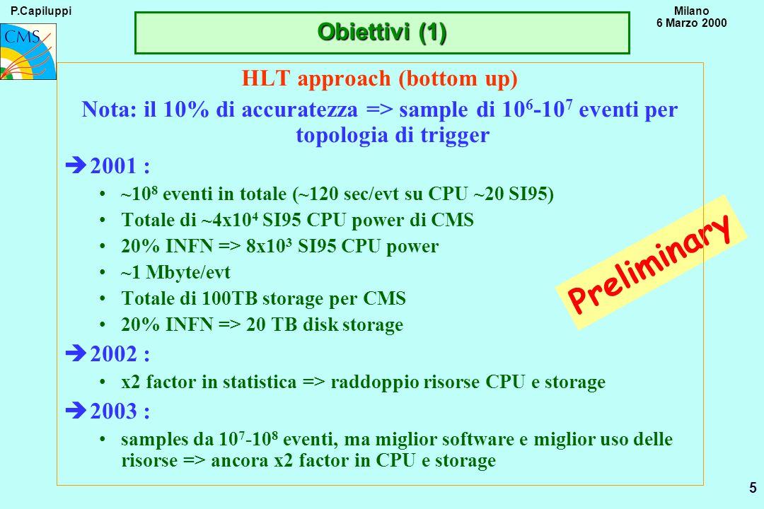 P.CapiluppiMilano 6 Marzo 2000 6 Preliminary CMS alla Monarc approach (top down) Arrivare al 2003 con il 10% del sistema finale funzionante (tutti i Tier-n) è2006 : Tier1 RC = ~150kSI95, ~200 Tbyte disk, ~0.3-0.5 Pbyte mass storage About 5x20% Tier2 RCs attached to the Tier1 RC è2003 : INFN CMS is 10% of a Tier1 and ~5-6 Tier2 => 30KSI95, 40 Tbyte disks (sottostimato.