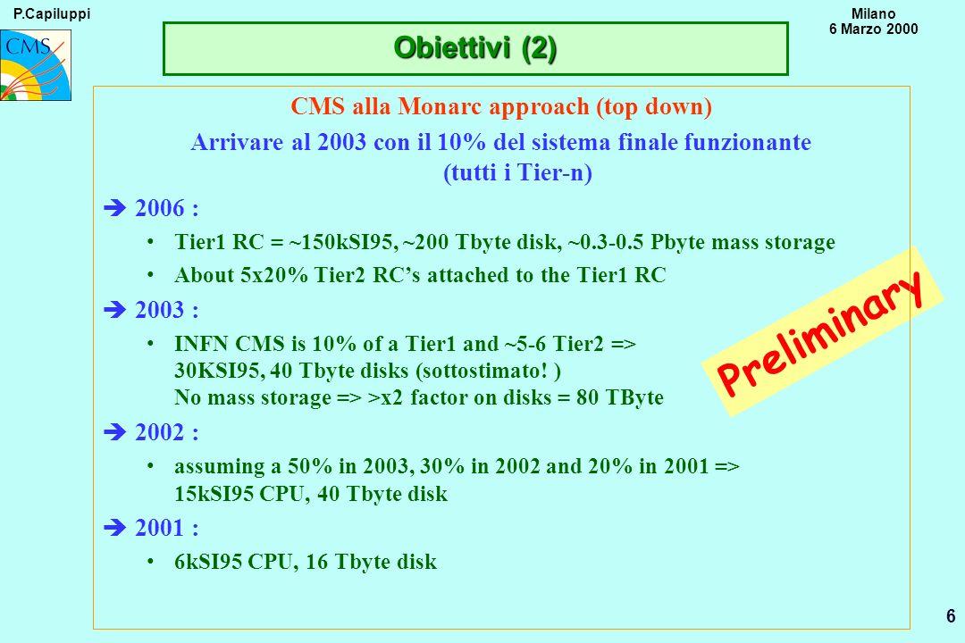 P.CapiluppiMilano 6 Marzo 2000 6 Preliminary CMS alla Monarc approach (top down) Arrivare al 2003 con il 10% del sistema finale funzionante (tutti i T