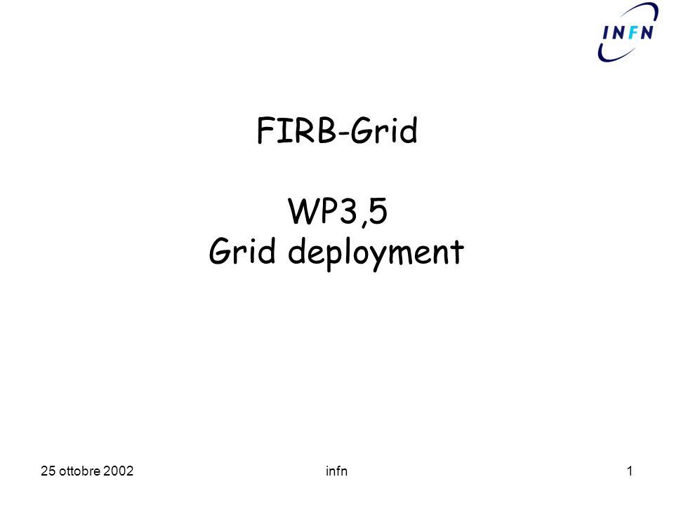 25 ottobre 2002infn1 FIRB-Grid WP3,5 Grid deployment