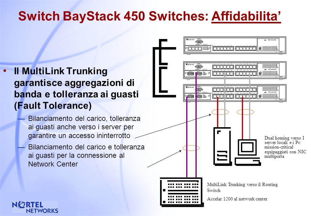 32 Switch BayStack 450 : Affidabilita Il loop realizzato con I cavi viene richiuso connettendo lultimo elemento dello stack al primo L integrita dello stack e mantenuta anche nel malaugurato evento del fault di uno switch Vista dal retro che mostra il design fault-tolerant dello stack