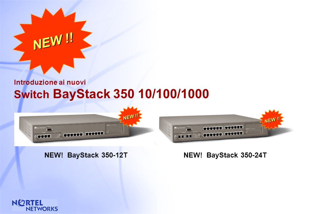 36 Switch BayStack 450 : Flessibilita BayStack 10/100/1000 switch disponibile con configurazioni a 12 e 24 e: - un MDA slot (frontale) - un cascade module slot (nel retro) 4-port 10BASE-T/ 100BASE-TX MDA 2-port 100BASE-FX MDA 4-port 100Base-FX MDA (connettori MT-RJ) 1-port 1000BASE-SX MDA 1-port 1000BASE-LX MDA (diponibili anche con redundant PHY LinkSafe) rear view (both units)front view, BayStack 450-24T front view, BayStack 450-12T Cascade Stacking Module