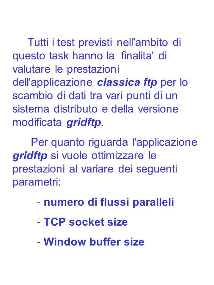 Tutti i test verranno effettuati a partire della versione 2.2.19 del kernel Linux e basandosi sulla piu recente versione di Globus Data Grid Alpha (cioe a partire della Release 3: