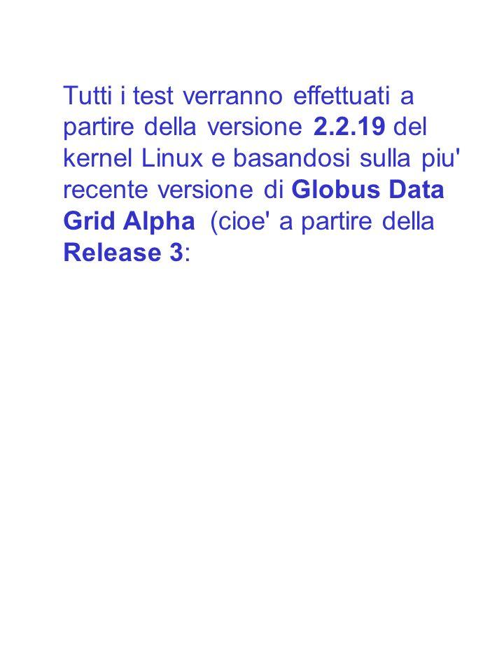 Tutti i test verranno effettuati a partire della versione 2.2.19 del kernel Linux e basandosi sulla piu' recente versione di Globus Data Grid Alpha (c