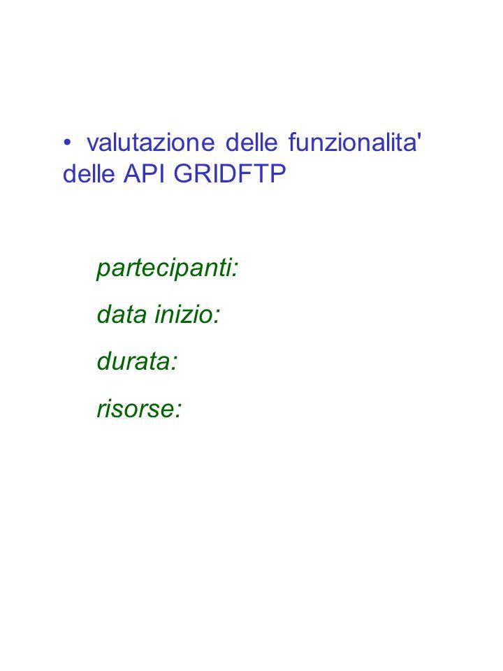 valutazione delle funzionalita' delle API GRIDFTP partecipanti: data inizio: durata: risorse: