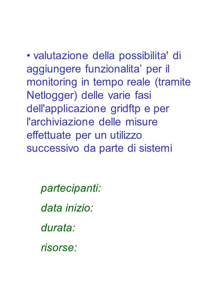 valutazione della possibilita' di aggiungere funzionalita per il monitoring in tempo reale (tramite Netlogger) delle varie fasi dell'applicazione grid