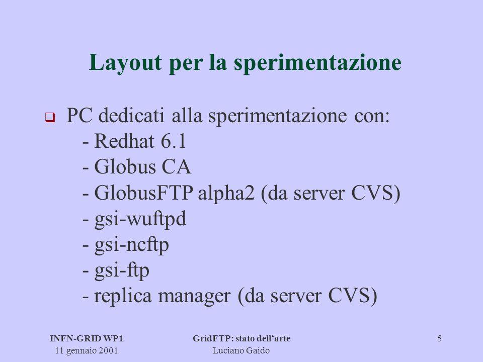 INFN-GRID WP1 11 gennaio 2001 GridFTP: stato dellarte Luciano Gaido 6 Stato dellarte q GlobusFTP alpha2 installato a CNAF, PD, NA,TO, PI q Gsi-Wuftpd installato: - 0.3b1 a Na e Cnaf - 0.4b4 a To e Pd - 0.4b5 non funzionante q Gsi-ncftp 3.0.0 installato a Cnaf, Na e PD q Gsi-ftp 0.4.0 installato a PD q Note sullinstallazione disponibili su www.to.infn.it/grid/gridftp/gridftp-install.txt