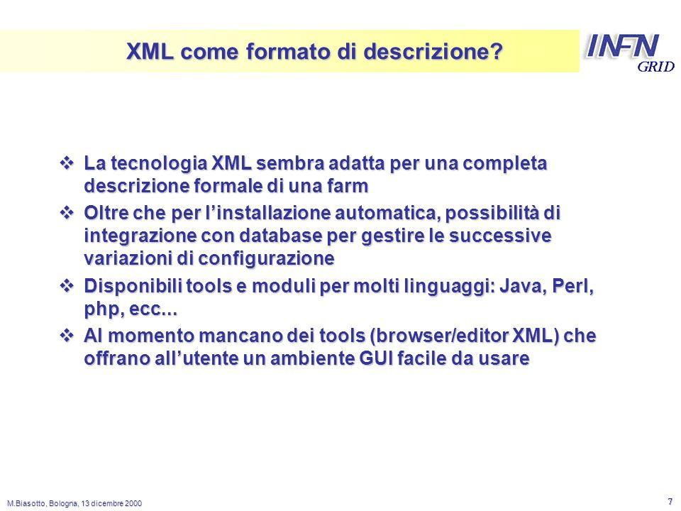 LNL M.Biasotto, Bologna, 13 dicembre 2000 7 XML come formato di descrizione.